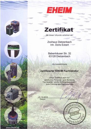 Eheim Zertifikat 2013 für Zoohaus.de